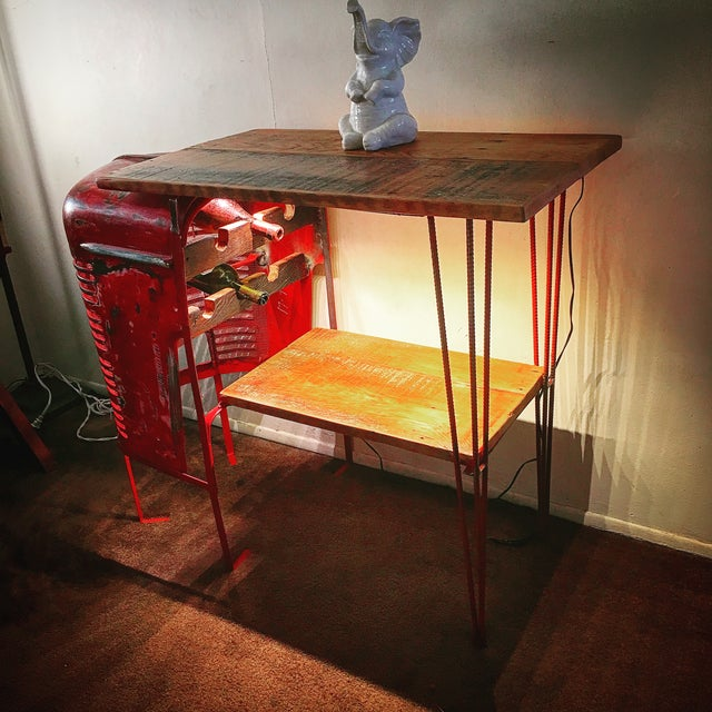 Rustic Tractor Table Wine Cabinet - Image 3 of 6