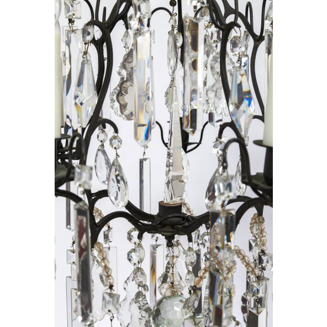 Multi Crystal Birdcage Chandeliers - a Pair For Sale - Image 12 of 13