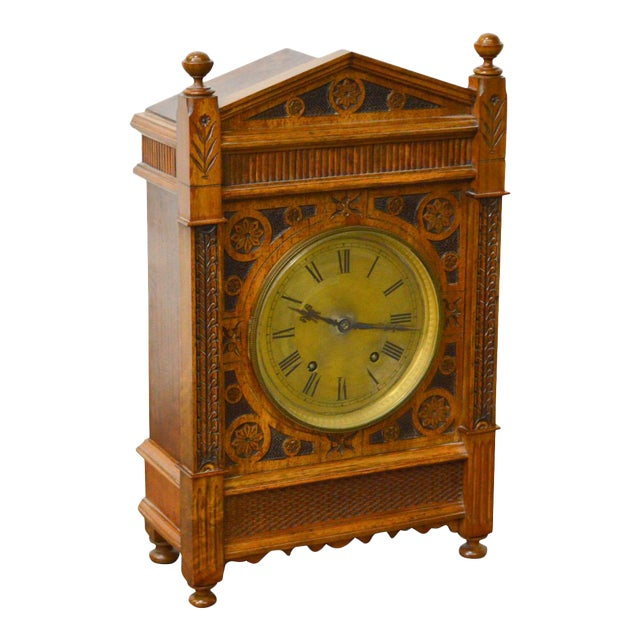 Antique Aesthetic Walnut Mantel Clock attributed to Daniel Pabst For Sale