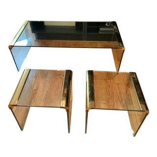 Pace Collection Brass & Glass Waterfall Coffee Table For Sale