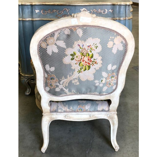 1980s Dennis & Leen French Bergere Chair W Silk Lampas Feather Cushion For Sale - Image 5 of 6