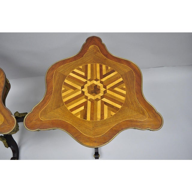 Late 20th Century Louis XV French Style Repro Marquetry Inlay Bronze Figure Side Tables - a Pair For Sale - Image 5 of 13