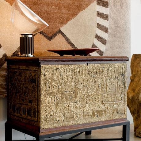 19th Century Teak Red Lacquer and Gold Leaf Manuscript Chest For Sale - Image 4 of 6