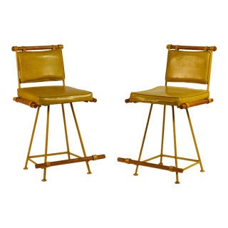 1970s Yellow Cleo Baldon Swiveling Counter Stools - a Pair For Sale