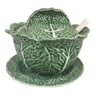 Vintage Bordallo Pinheiro Green Majolica Cabbage Lidded and Spooned Serving Bowl on Under Plate For Sale