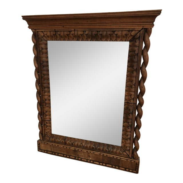 1800's Hand Carved Wood Frame Mirror For Sale