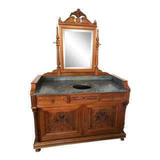 Antique Carved Wood & Gray Marble Top Washstand For Sale