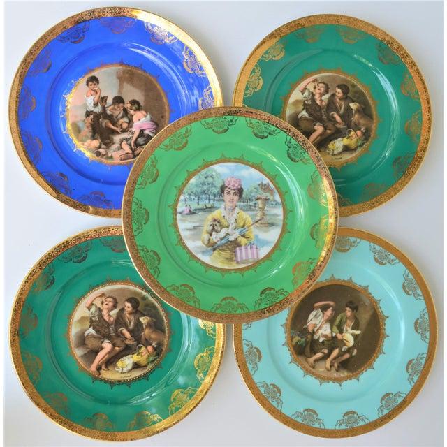 Green Antique Josef Kuba Jkw Bavaria Porcelain Plates - Set of 5 For Sale - Image 8 of 11