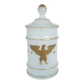 American Opaline Glass Apothecary Jar With Gilt Decorations of an Eagle For Sale