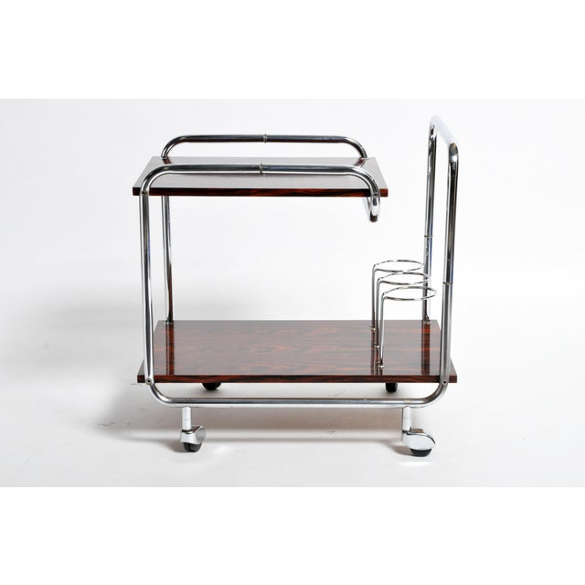 Mid-Century Modern Hungarian Chrome and Rosewood Bar Cart For Sale - Image 9 of 13