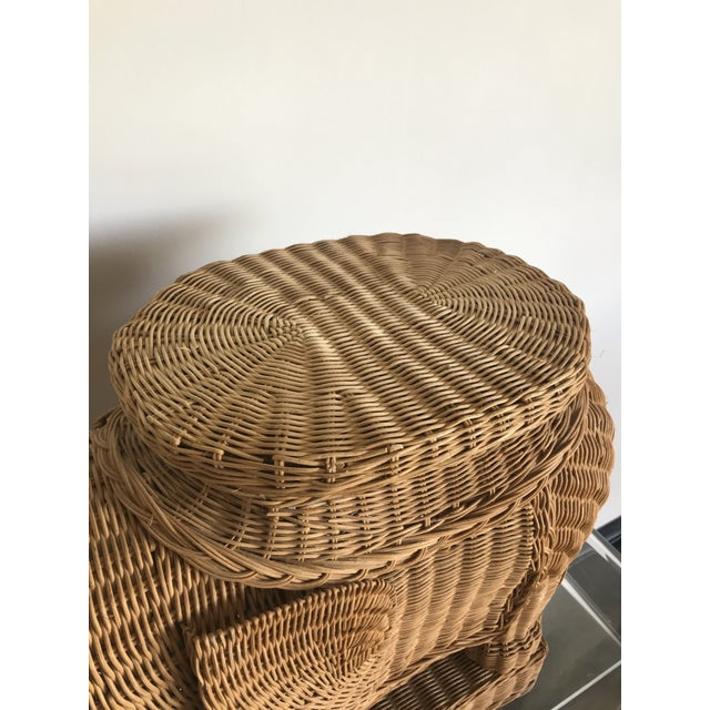 1980s 1980s Boho Chic Woven Rattan Elephant Side Table For Sale - Image 5 of 6