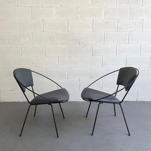 Metal Mid Century Modern Wrought Iron Upholstered Hoop Chairs- A Pair For Sale - Image 7 of 8