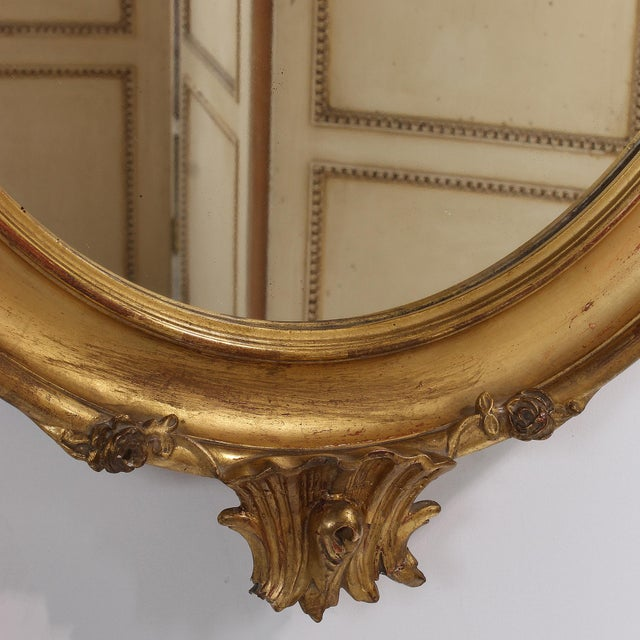 Gold French Louis XV Style Giltwood Oval Mirror For Sale - Image 8 of 11
