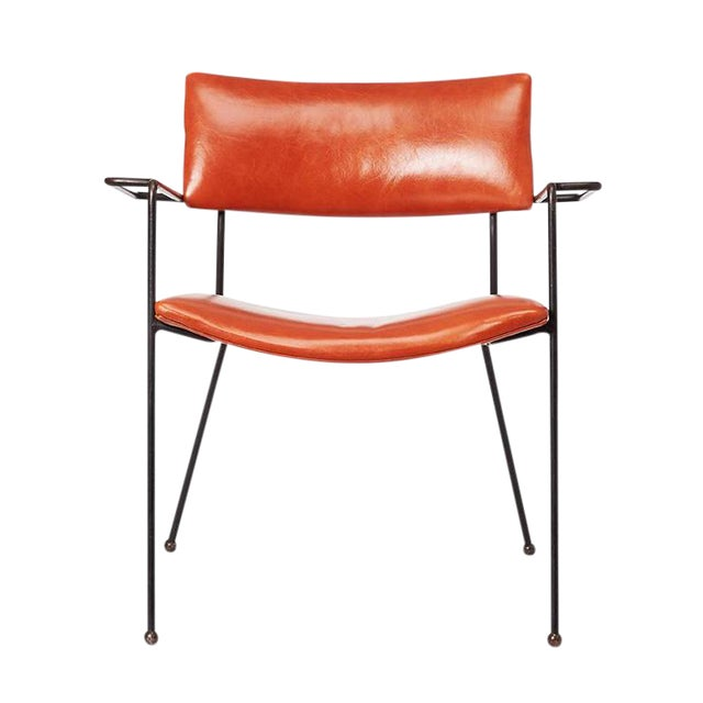 Mid-Century Iron and Leather Side Chair - Image 1 of 6