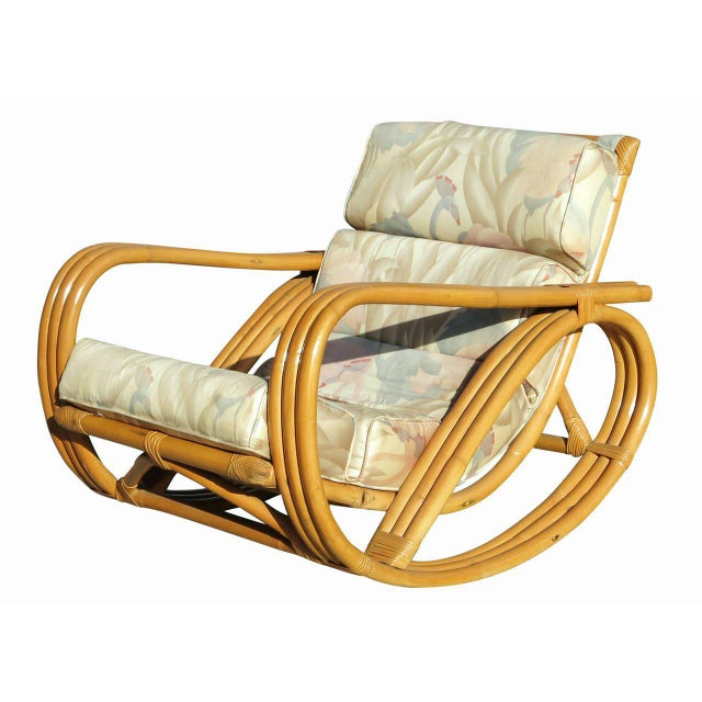 Rare Restored Pretzel Arm Rattan Rocking Chair with Ottoman - Image 8 of 9