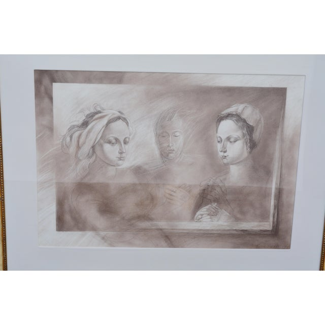Portraiture Set of Two Pencil and Charcoal Portraits For Sale - Image 3 of 11