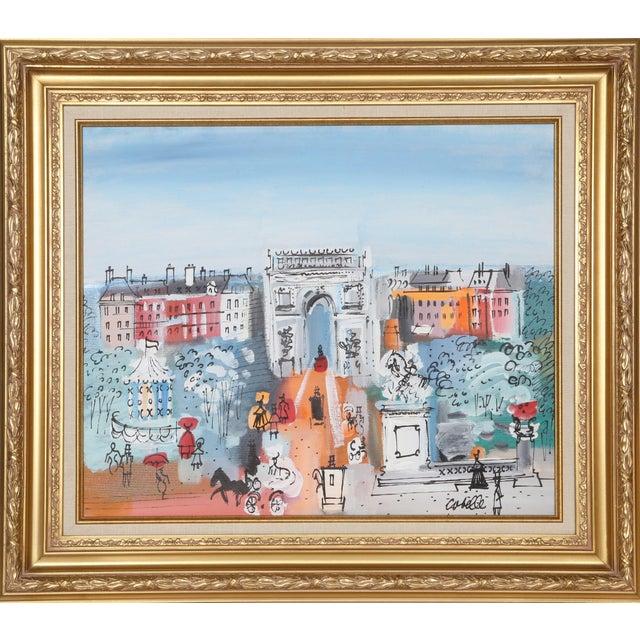"""Charles Cobelle, """"Grand Paris Boulevard With Arc De Triomphe"""", Cityscape Painting For Sale"""