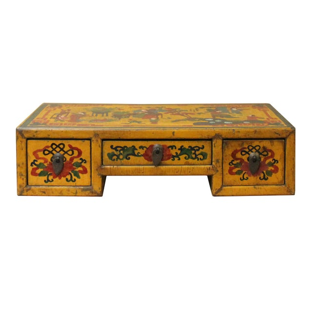 Chinese Yellow Lacquer Graphic Table Top Stand Display Easel For Sale - Image 4 of 9