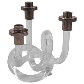 1940s Dorothy Thorpe Pretzel Lucite and Chrome Candlestick For Sale