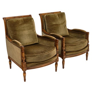 Directoire Style Green Velvet Bergère Armchairs - a Pair For Sale