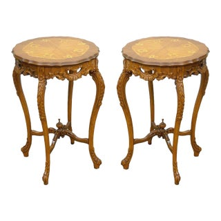 Pair of Antique French Floral Satinwood Inlaid Round End Tables Carved Walnut For Sale