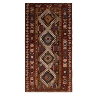 Vintage Mid-Century Surakhani Geometric Beige-Brown and Burgundy Wool Kilim Rug For Sale