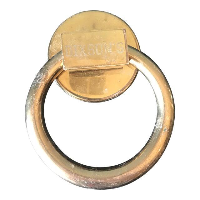 1970s Vintage Minimalist Brass Circle Door Knocker For Sale