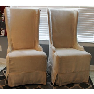 Padma's Plantation Atlantic Beach Wing Slipcovered Beige Chenille Textile Dining Chairs - a Pair Preview