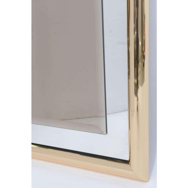 Sleek 1970s Faceted Brass Mirror with Center Bronze Mirror - Image 4 of 8