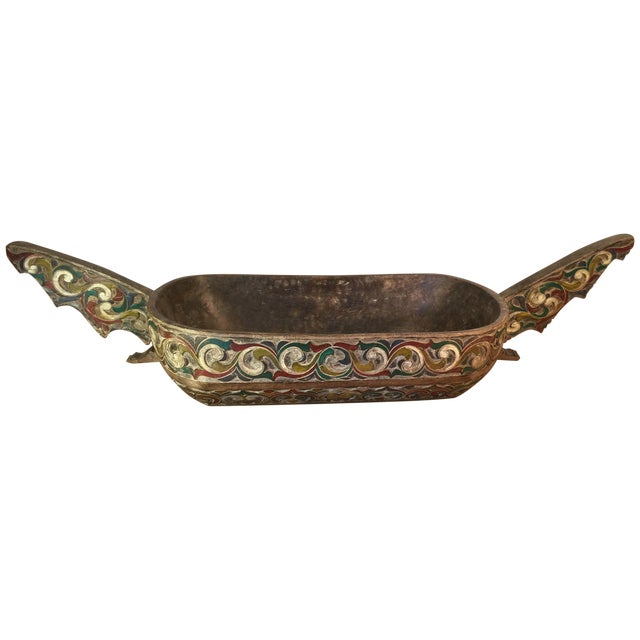 Filipino Carved & Painted Very Large Food Bowl - Image 1 of 8