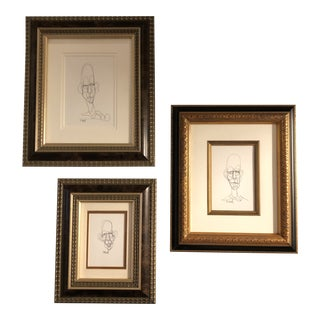 Gallery Wall Collection-3 Original Giacometti Style Ink Portrait Drawings by Cody Orrell Framed- Set of 3 For Sale