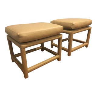 1970s Vintage Thayer Coggin for Milo Baughman Leather Benches- A Pair For Sale