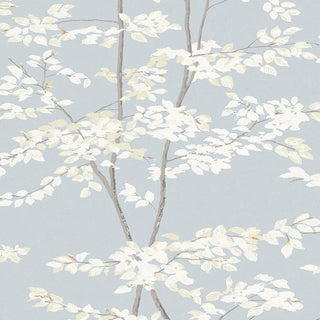 "Lewis & Wood Beech Cirrus Extra Wide 52"" Botanic Style Wallpaper Sample For Sale"