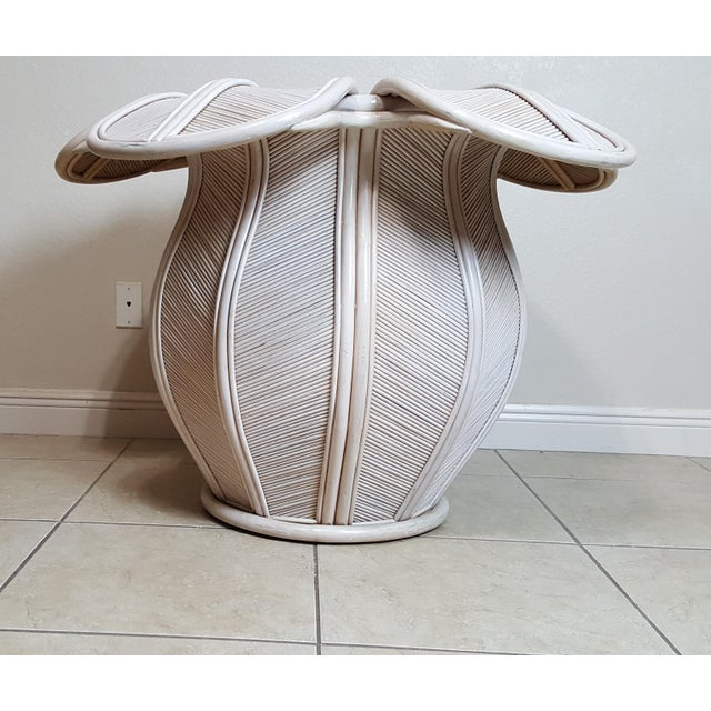 This listing is for Rattan Bell Flower Dining Table This item has some aging imperfections/spots/scratches/touch ups here...