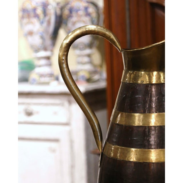 19th Century French Oak and Brass Banded Cider Pitcher Jug From Normandy For Sale In Dallas - Image 6 of 11