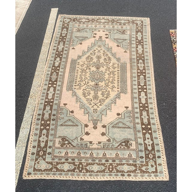 "1950's Vintage Turkish Oushak Wool Rug - 4'8"" x 8'1"" For Sale - Image 13 of 13"