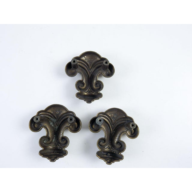 French Vintage Heavy Metal Retro Drawer Pulls - Set of 3 For Sale - Image 3 of 4