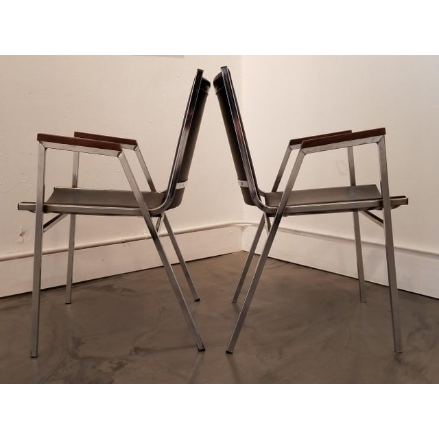1970s Chrome Industrial Modern Arm Chairs - a Pair For Sale - Image 5 of 12