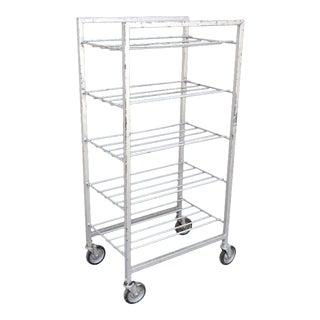 Vintage Industrial Metal Rolling 5 Tier Bakery Bakers Cart Display Shelf Rack For Sale