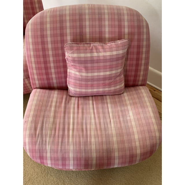 Textile Directional Furniture Clamshell Chair - A Pair For Sale - Image 7 of 9