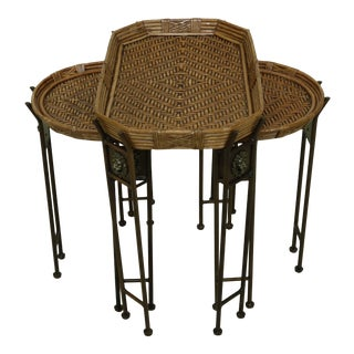 Rattan Top Regency Style 3 Part Nesting Tables For Sale