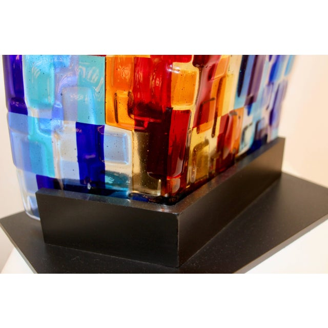 2010s Contemporary Italian Aqua Blue Red Yellow Murano Glass Mosaic Sculptural Lamp For Sale - Image 5 of 11