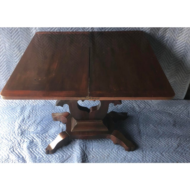 vintage swivel top mahogany game table top is veneer 34x17x28H top flat out is 34x34