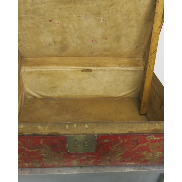 Antique Chinese Leather Trunk For Sale - Image 4 of 13