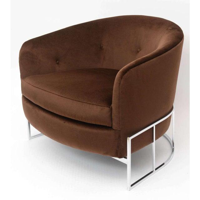 Milo Baughman barrel back with chrome and silk velvet single chair.