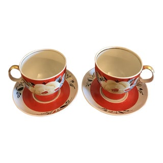 Vintage Large Hand Painted Cup and Saucer - 4 Pieces For Sale