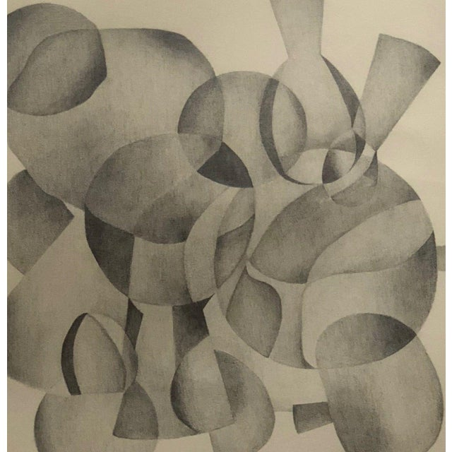 1970s Abstract Drawing on Paper of Overlapping Shapes by Carol Caciolo For Sale In Saint Louis - Image 6 of 7