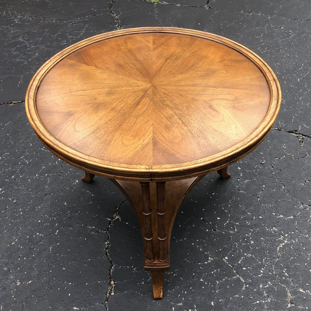 1980s Chinoiserie Faux Bamboo Round Accent Table