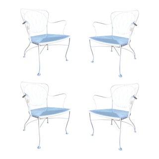 Woodard Art Nouveau Iron Patio/Outdoor Lounge Chair - Set of 4 For Sale