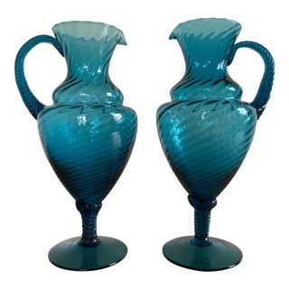 Mid-Century Blue Empoli Glass Ewers - a Pair For Sale